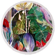 Banana And Pods Round Beach Towel by Mindy Newman
