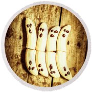 Banana Ghosts Looking To Split At Halloween Party Round Beach Towel