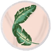 Banana Leaf Square Print Round Beach Towel by Lauren Amelia Hughes