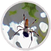 Banana Spider Lunch Time 1 Round Beach Towel