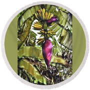 Round Beach Towel featuring the painting Banana Tree No.2 by Chonkhet Phanwichien