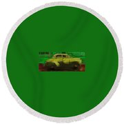 Round Beach Towel featuring the painting Banana Yellow by Jim Vance
