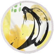Bananas- Art By Linda Woods Round Beach Towel