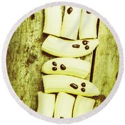 Bananas With Painted Chocolate Faces Round Beach Towel
