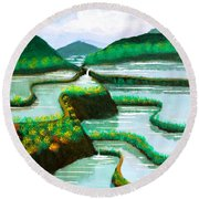 Round Beach Towel featuring the painting Banaue by Cyril Maza
