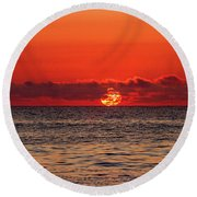 Band Of Clouds At Sunrise Round Beach Towel by Allan Levin