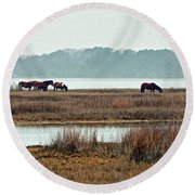 Band Of Wild Horses Along Sinepuxent Bay Round Beach Towel
