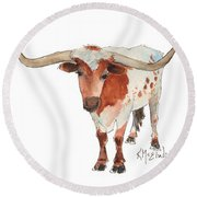 Texas Longhorn Bandero Watercolor Painting By Kmcelwaine Round Beach Towel
