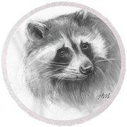 Bandit The Raccoon Round Beach Towel