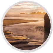 Bandon Beach Sunburst Round Beach Towel by Brad Scott