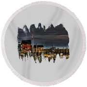 Bandon Boat Basin At Dawn Round Beach Towel by Thom Zehrfeld