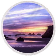 Bandon On Fire Round Beach Towel