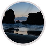 Bandon Oregon Sea Stacks Round Beach Towel