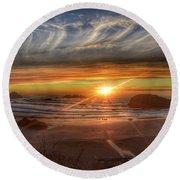 Bandon Sunset Round Beach Towel