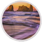 Round Beach Towel featuring the photograph Bandon's Breath by Darren White