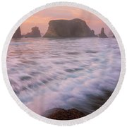Round Beach Towel featuring the photograph Bandon's Sunset Rush by Darren White