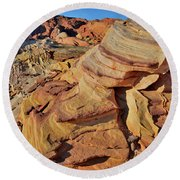Bands Of Colorful Sandstone In Valley Of Fire Round Beach Towel