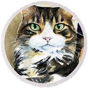 Bandu - Long Haired Calico Cat Painting Round Beach Towel