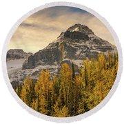 Banff Larch Valley Autumns Serenity Round Beach Towel