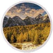 Banff Ten Peaks Fall Golden Landscape Round Beach Towel