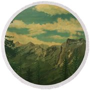 Round Beach Towel featuring the painting Banff by Terry Frederick