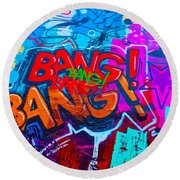 Bang Graffiti Nyc 2014 Round Beach Towel