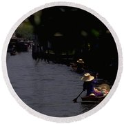 Bangkok Floating Market Round Beach Towel