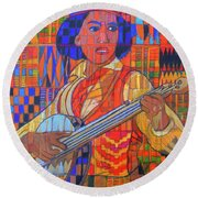 Round Beach Towel featuring the painting Banjo-five Strings by Denise Weaver Ross