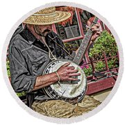 Banjo Man Orange Round Beach Towel