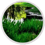 Bank And Reflections 1074 Round Beach Towel