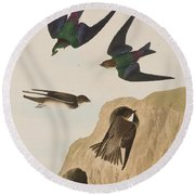 Bank Swallows Round Beach Towel by John James Audubon