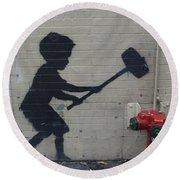 Banksy In New York Round Beach Towel