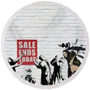 Banksy - Saints And Sinners   Round Beach Towel
