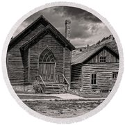 Bannack Church Round Beach Towel