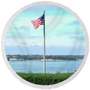 Banner Of Freedom Round Beach Towel by Lon Casler Bixby