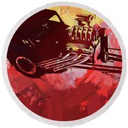 Bantam Dragster Pop Red Round Beach Towel
