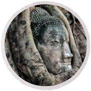 Banyan Tree Buddha Round Beach Towel