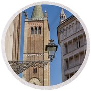 Baptistery And Cathedral In Parma Round Beach Towel by Patricia Hofmeester