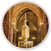 Round Beach Towel featuring the photograph Baptistery Siena Italy by Joan Carroll