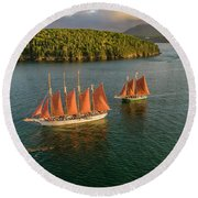 Round Beach Towel featuring the photograph Sailing Thru Life The Downeast Way by Michael Hughes