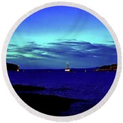 Round Beach Towel featuring the photograph Bar Harbor, Maine Sunset Cruse  by Tom Jelen