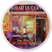 Bar Puccini Lucca Italy Round Beach Towel by Wally Hampton
