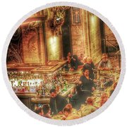 Bar Scene Round Beach Towel
