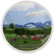 Round Beach Towel featuring the painting Bar U Ranch by Linda Feinberg