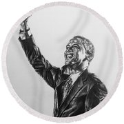 Round Beach Towel featuring the painting Barack Obama by Darryl Matthews