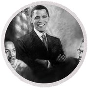 Barack Obama Martin Luther King Jr And Malcolm X Round Beach Towel by Ylli Haruni