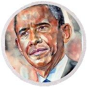 Barack Obama Painting Round Beach Towel