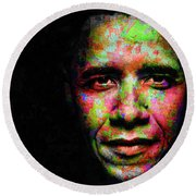 Round Beach Towel featuring the mixed media Barack Obama by Svelby Art