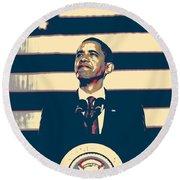 Barack Obama With American Flag 4 Round Beach Towel