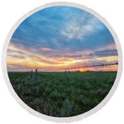 Round Beach Towel featuring the photograph Barb Wire by Russell Pugh